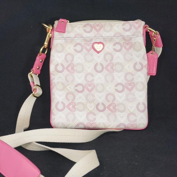 Coach White & Pink Waverly Heart Crossbody Bag